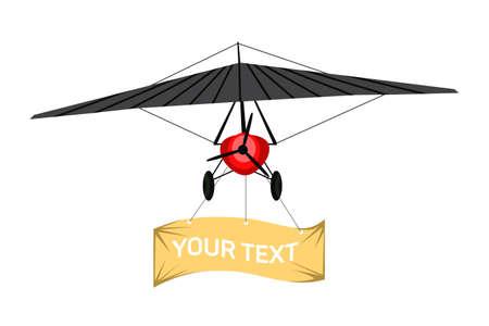 Biplane aircraft pulling advertising flat banner Vettoriali
