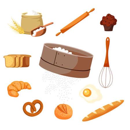 Food and baking tools vector illustrations set