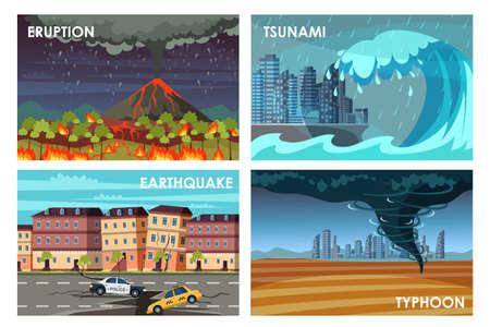 Natural disasters flat vector illustrations set Иллюстрация