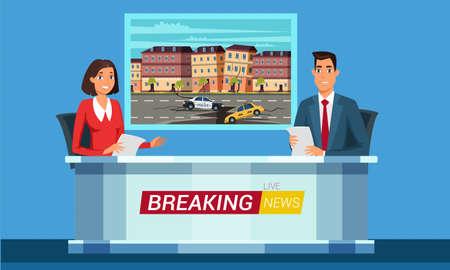 Live breaking news flat illustration. TV studio interior vector illustration. Television news program presenters cartoon characters. Disaster, catastrophe tidings. Broadcast announcing.