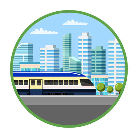 Suburban electric train flat illustration. City public transport. Cityscape in green circle frame isolated on white background. Passenger commuting train. Quick transportation, town facility concept Illustration