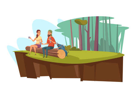 Picnic in forest flat vector illustration. Enamored couple cartoon characters sitting on log. Woodland scenery, landscape. Lunch in forest glade. Family leisure, summertime rest concept Vecteurs