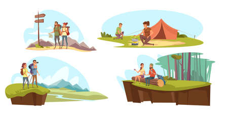 Camping flat vector illustrations set. Tourist couples in nature cartoon characters. Family holiday activities. Romantic hike, forest picnic, overnight in tent. Summertime leisure, ecotourism concept