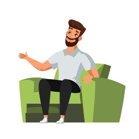 Bearded man character sitting in green armchair