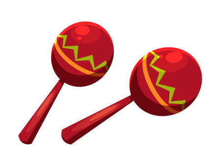 Wooden red maracas with colorful design isolated on white. Traditional pair of mexican or spanish percussion musical instrument. Holiday party decoration. Vector cartoon flat illustration 向量圖像