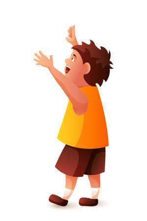 Cartoon happy surprised little boy with raised hands and opened mouth on white. Excitement amusement for kids. Positive feelings and emotions. Excited mood. View from back. Vector flat illustration