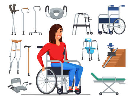 Cartoon disabled woman sitting on wheelchair and different mobility aids. Sick people with restricted abilities and walkers variety set. Special needs for handicapped person. Vector flat illustration Vecteurs