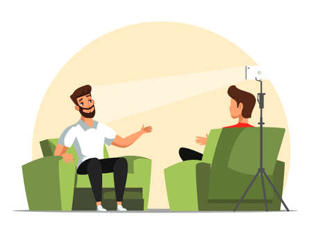 Cartoon male bloggers talking, collaborating during live streaming, broadcast. Guys vloggers sharing ideas for social media network. Interview, recording video in studio. Vector flat illustration Vectores