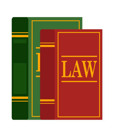 Law books used by lawyers and judges isolated on white backdrop. Legal, juridical education. Jurisprudence and human rights studying. Constitution, criminal and tax. Vector cartoon flat illustration Illustration
