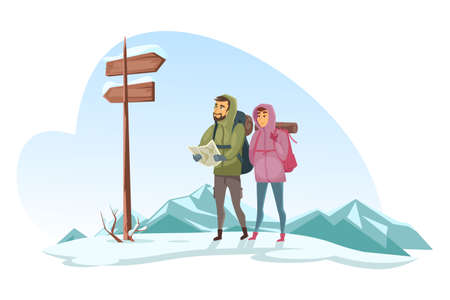 Winter holidays vacation. Cartoon male and female travelers characters look at paper map comparing to wooden road signs. Highlands with snowy mountains. Tourism and trekking. Vector flat illustration