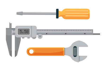 Plumbing tools set isolated in white copy space. Flat cartoon adjustable wrench, screwdriver and electronic caliper device for measurement. Plumbers working accessories. Vector illustration Иллюстрация