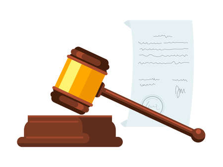 Wooden hammer, gavel flat vector illustration. Judge, magistrate instrument. Court trial, legal authority, judicial system, bidding decorative symbol. Courtroom, auction accessory. Small mallet Иллюстрация