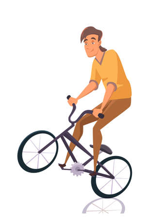 Cartoon boy teenager character doing stunts on bmx bike isolated on white backdrop. Young guy riding extreme sport bicycle. Flat style male character. Skate park. Rollerdrom. Vector illustration