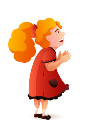 Surprised and admired little girl in pink dress. Pretty cute small female standing isolated on white backdrop. Happy cartoon character watching amusement performance. Vector flat illustration Çizim