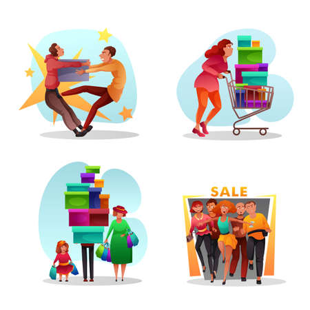 Seasonal sales funny flat set. Cartoon excited people characters fighting for gifts and presents, rushing for sell off, carrying shopping trolley cart and handbags with purchases. Vector illustration