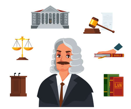Judge character. Flat referee accessories set. Code of law, bible oath, hourglass, courthouse, tribune, judicial gavel, golden weigh-scales. Justice. Vector illustration