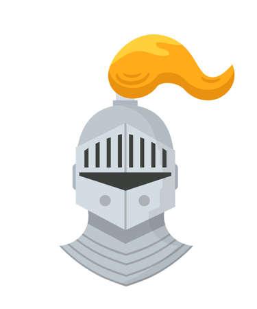 Medieval knight helmet flat vector illustration