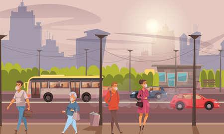 Air pollution flat vector illustration