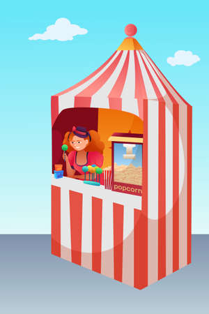Popcorn and lollipops stand vector illustration