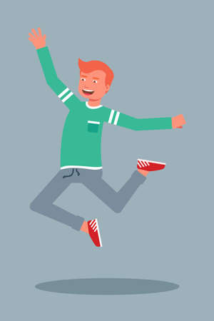 Happy male student jumping flat character
