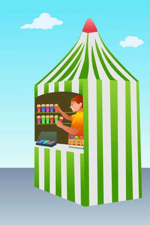 Ice cream trade tent flat vector illustration