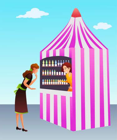 Carbonated drinks kiosk flat vector illustration Illustration