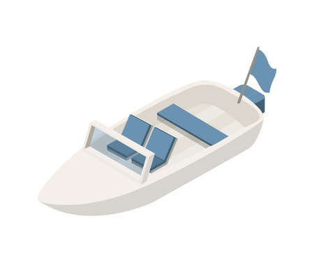 Motorboat isometric vector illustration