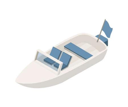 Motorboat isometric vector illustration
