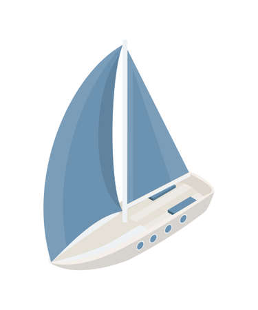 Sail boat yacht water transport design on white