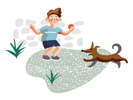 Little boy playing with dog flat illustration