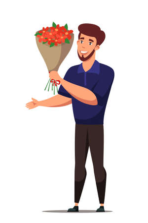 Happy man holding flower bouquet flat character
