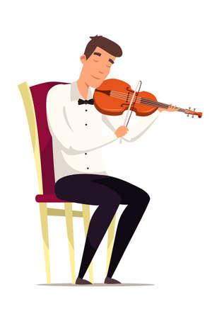 Violinist on chair flat vector illustration