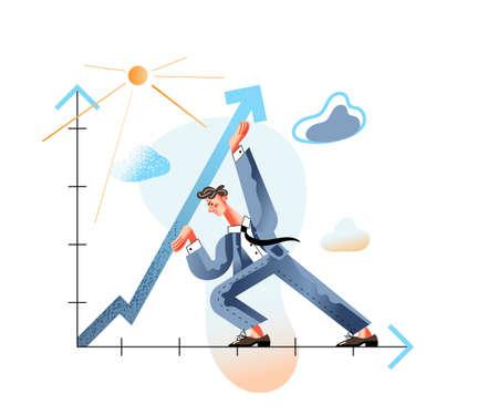 Increase profitability flat vector illustration. Income enhancing, revenue augmenting metaphor. Businessman raising arrow up cartoon character. Finance, business strategy, company growth concept. Vektorgrafik