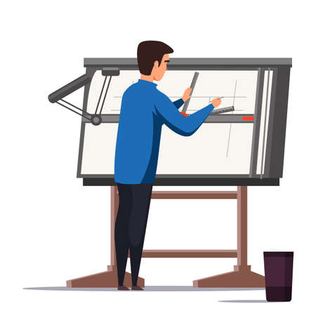 Architect designer working on project illustration. Engineer using professional equipment. Male flat character drawing building plan. Blueprint on drafting table. Confused student at maths class