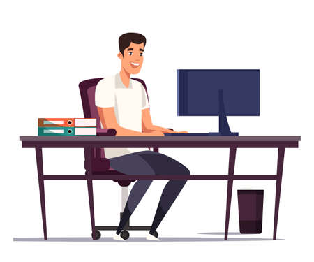 Cartoon man worker sitting at table and typing on computer keyboard. Well equipped workplace. Architect bureau, business office. Programmer, engineer, designer. Vector flat illustration 向量圖像