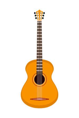 Six-stringed guitar isolated on white background