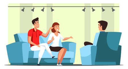 Family talk show and participants interviewing in studio. Man and woman sitting on sofa front of male interviewer in armchair. Mass media and broadcasting. Vector flat cartoon illustration