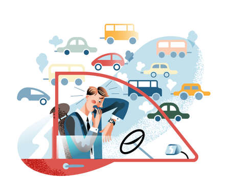 Manager late for work flat vector illustration