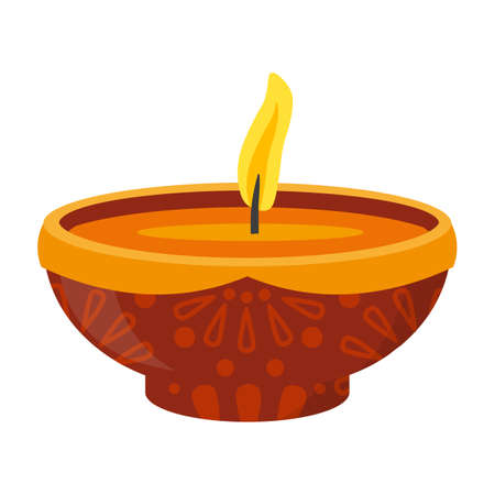 Flat gel candle with burning wick in ceramic bowl Vetores
