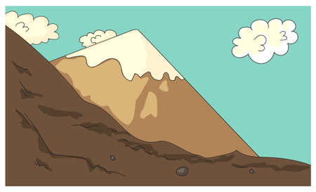 Cartoon mountains rock valley cliff in highlands Ilustracja