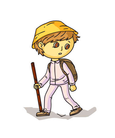 Cartoon boy hiker with stick and backpack on white Иллюстрация