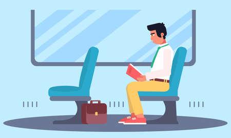 Man enjoying book reading in public transport Illustration