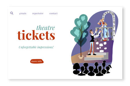 Theatre tickets vector landing page template