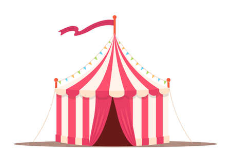 Circus vintage tent flat vector illustration isolated on white background