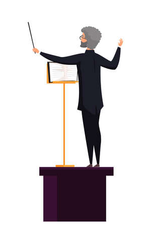 Conducting man with notes flat illustration. Male orchestra conductor on tribune cartoon character isolated on white background. Instrumental band director. Musical orchestra performance Ilustração
