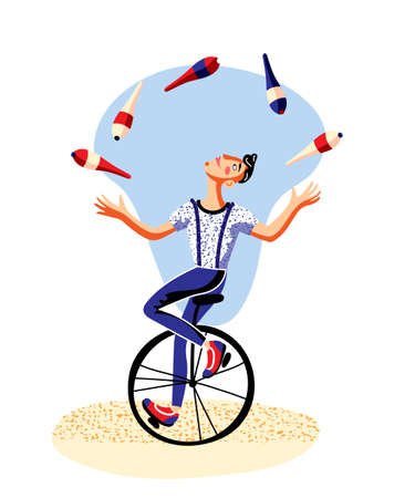 Male juggler with clubs riding unicycle on white. Circus actor juggling. Man artist character balancing on retro bicycle. Cirque show performance. Amusement and entertainment. Vector flat illustration