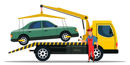 Car towing truck and road side assistance service Ilustrace