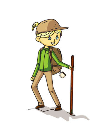Girl hiker with stick and backpack isolated on white. Camping activity. Cheap traveling choice. Extreme adventure. Active vacation. Walking tour. Trekking, climbing in mounts. Vector flat illustration