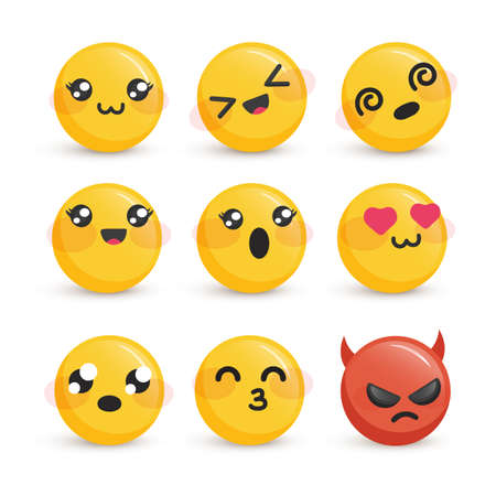 Cute smiley faces with different emotions set
