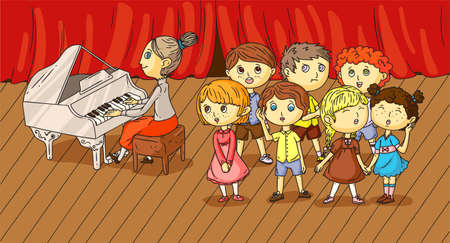 Children choir music performance on stage vector illustration. Educator playing musical instrument. Piano accompaniment. Choral singing lesson. Cartoon flat theater scene. Schooling and development